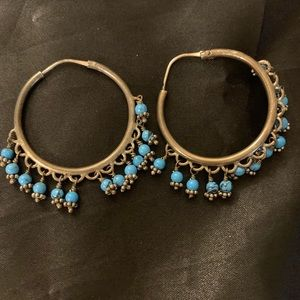 Silver and blue stones earrings